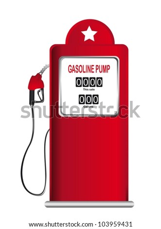 red gasoline pump isolated over white background. vector - stock vector