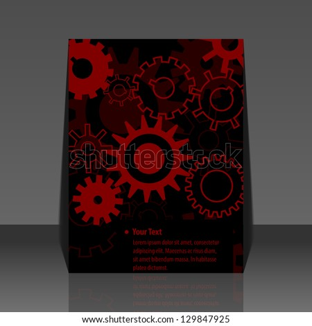Red gears vector flyer design
