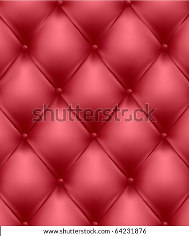 Red genuine leather upholstery. Vector Illustration. - stock vector