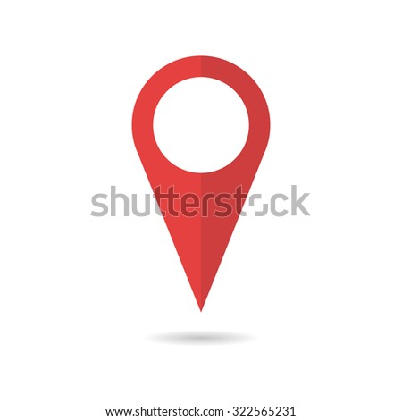 Red geo pin as logo with copy space on white. Geolocation and navigation. Icon for mobile and electronic devices, web design, infographic elements, presentation templates. - stock vector