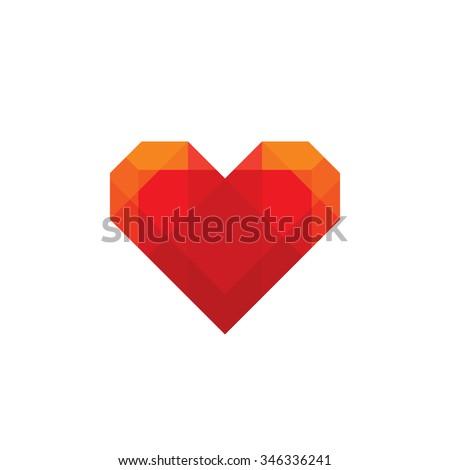 Red geometric heart - vector logo template concept illustration. Valentine's Day sign. Love symbol. Medicine icon. Design element. - stock vector