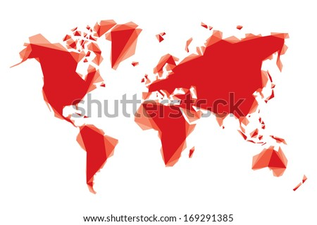 red geometric map of the world - stock vector
