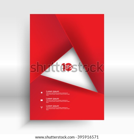 red geometric overlapping elements forming rectangle frame abstract design. eps10 vector - stock vector