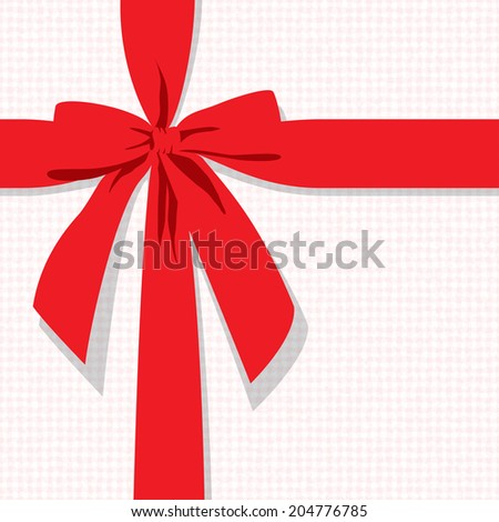 red gift bow vector background - stock vector