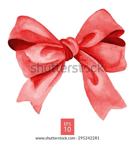 Red gift bow. Watercolor drawing. Vector illustration - stock vector