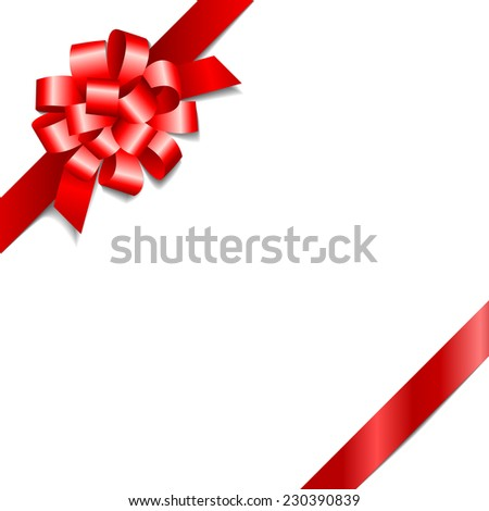 Red gift bow with a ribbon isolated on white background. Vector illustration - stock vector