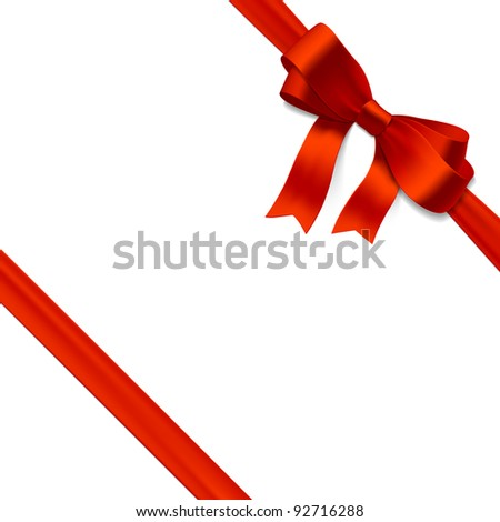 Red gift bow with ribbon. Vector. - stock vector
