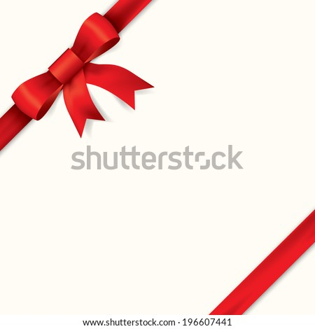 Red gift bows with ribbons. Vector. - stock vector