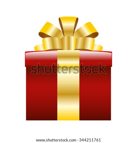 red gift box for a christmas and new year day gifts - stock vector