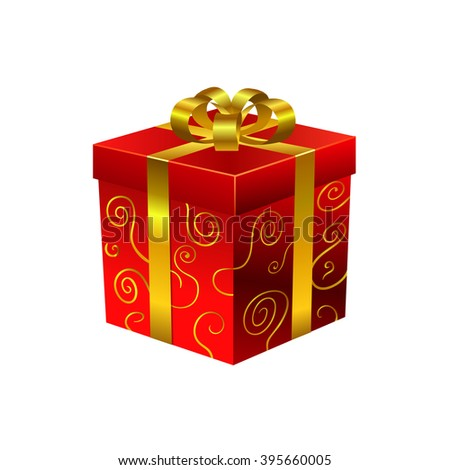 Red gift box with gold ribbons