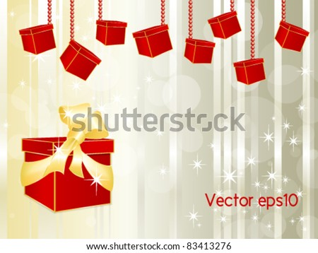 Red gift box with golden ribbon and bow and many small hanging parcels against abstract background design with silver lines and white stars - Christmas and birthday template - vector, eps10