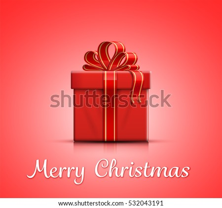 Red gift box with ribbon and bow. Merry Christmas. Vector illustration