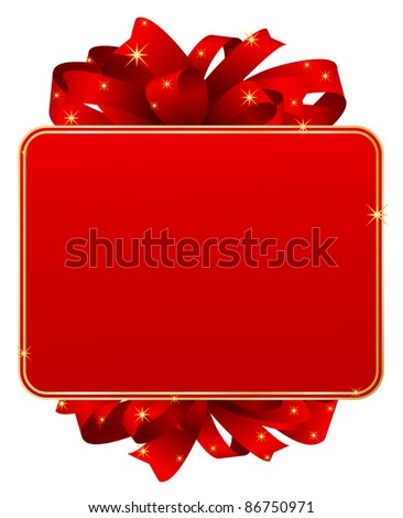 red gift card with bow - stock vector