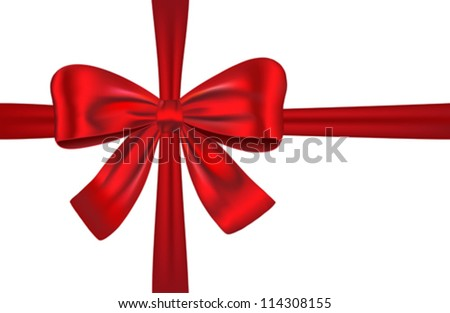 Red gift ribbon with bow isolated. Vector illustration - stock vector
