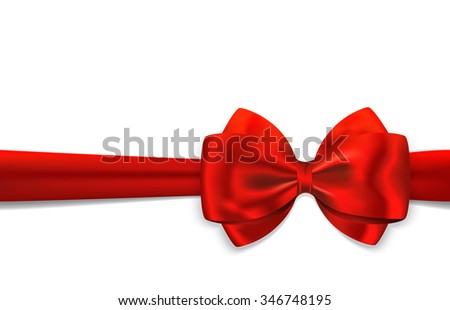 Red gift ribbon with luxurious bow isolated on white background. Best for gift cards, invitations, gifts boxes and other. Vector illustration - stock vector