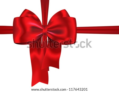 Red gift ribbon with luxurious bow isolated on white background. Vector illustration