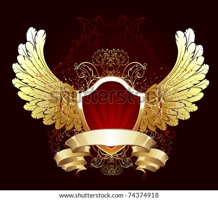 red gilded shield decorated with gold feathered wings and a flexible golden ribbon - stock vector
