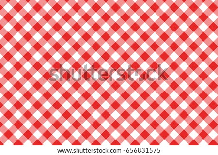 Red Gingham Seamless Pattern. Texture From Rhombus/squares For   Plaid,  Tablecloths,