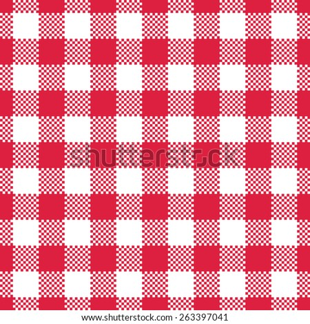 red gingham tablecloth seamless pattern background - stock vector
