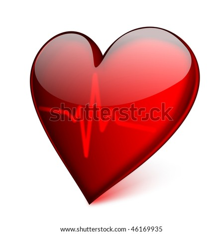 Red glass heart with cardiogram - EPS 10 vector icon - stock vector