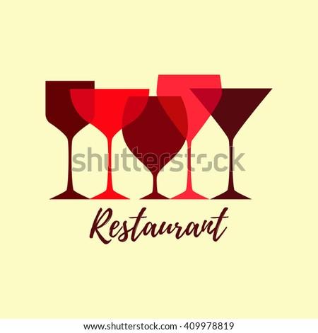Red glasses silhouettes. Logo for restaurant menu emblem. - stock vector