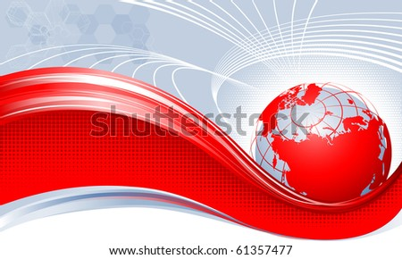 Red globe. Europe,Asia. - stock vector