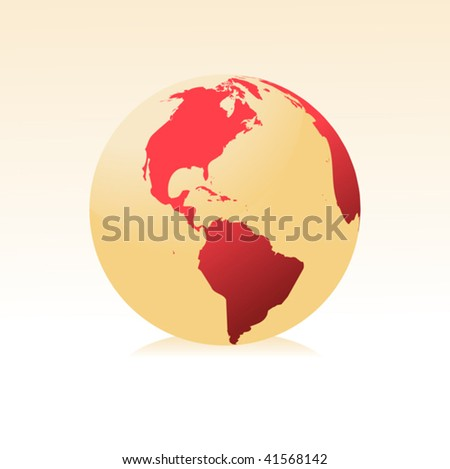 Red globe kit, vector background. Items are placed on separate layers and editable. - stock vector
