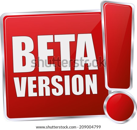 red glossy beta version button - stock vector