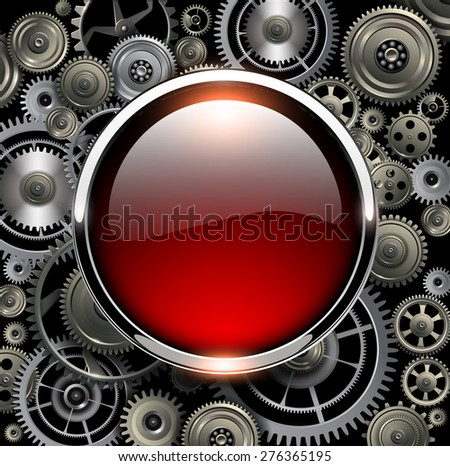 Red glossy button on gears background, vector illustration. - stock vector