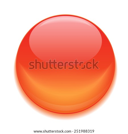 red glossy button. orange shiny ball  - stock vector