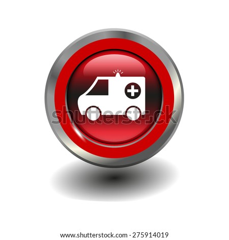 Red glossy button with metallic elements and white icon ambulance, vector design for website - stock vector