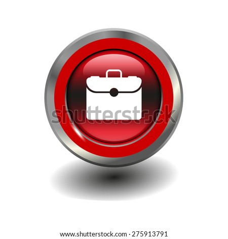 Red glossy button with metallic elements and white icon briefcase, vector design for website - stock vector