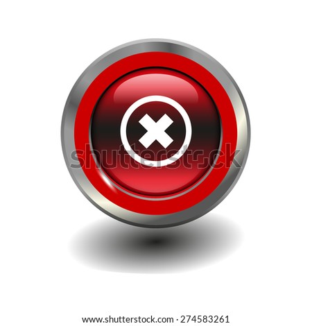 Red glossy button with metallic elements and white icon delete, vector design for website - stock vector