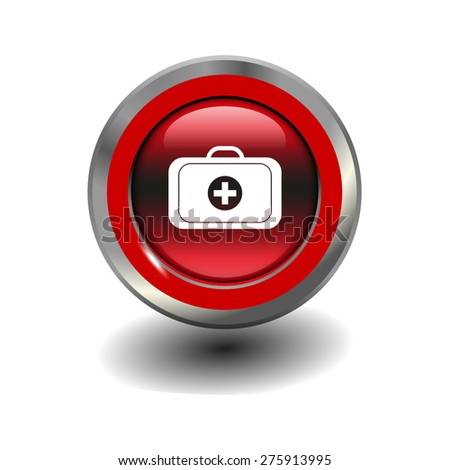 Red glossy button with metallic elements and white icon medical case, vector design for website - stock vector