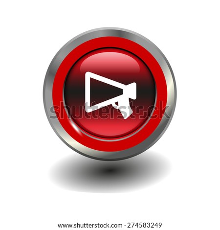 Red glossy button with metallic elements and white icon mouthpiece (announcing), vector design for website - stock vector