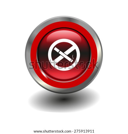 Red glossy button with metallic elements and white icon no smoking, vector design for website - stock vector