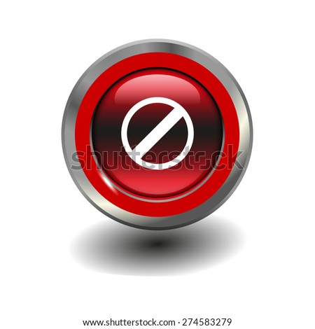 Red glossy button with metallic elements and white icon restricted, vector design for website