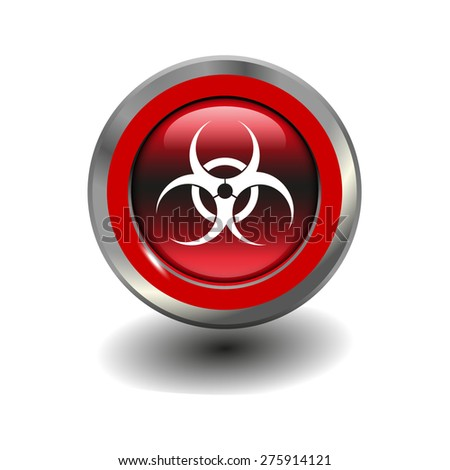 Red glossy button with metallic elements and white icon virus, vector design for website - stock vector