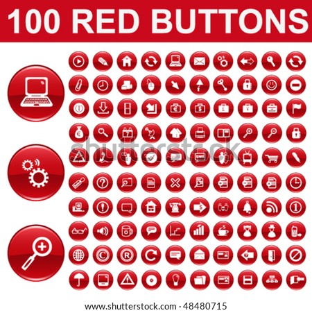 Red Glossy Buttons - stock vector