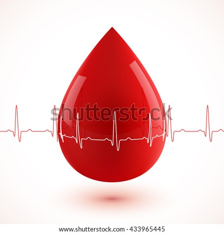 Red glossy 3d vector blood drop with red and white cardiogram - stock vector