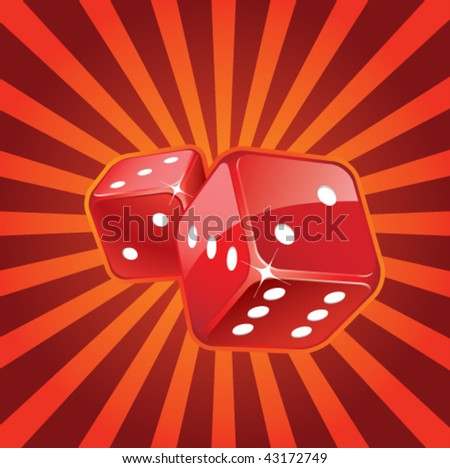 Red glossy dices - stock vector
