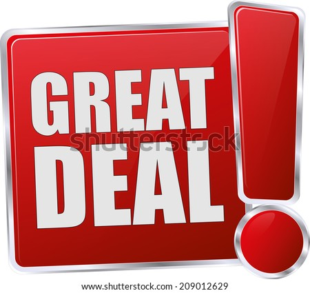 red glossy great deal button - stock vector