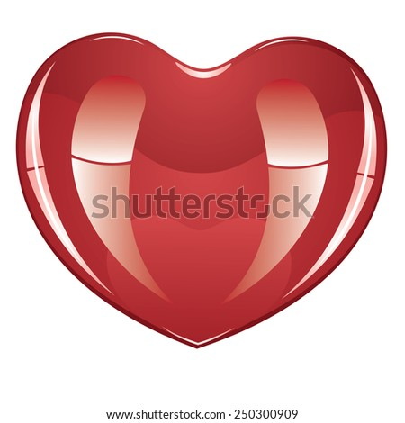 Red glossy heart icon, illustration on white background. - stock vector