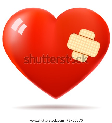 Red glossy heart repaired with patch - stock vector