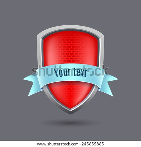 Red glossy metal shield on gray background - stock vector