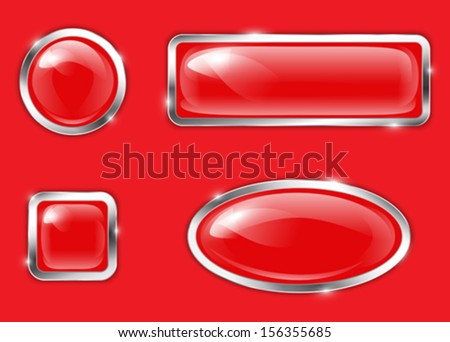 Red glossy metallic buttons. Vector illustration