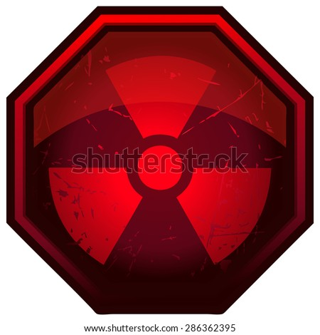 Red Glossy Octagonal Radioactive Sign, Vector Illustration.  - stock vector