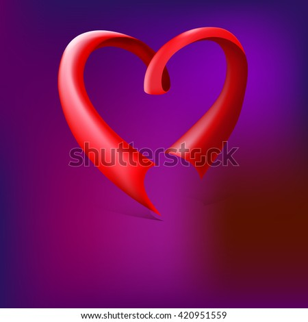 Red glossy ribbon heart. Red ribbon banner in the shape of heart isolated on colored background. Heart from ribbon Valentines day vector background - stock vector