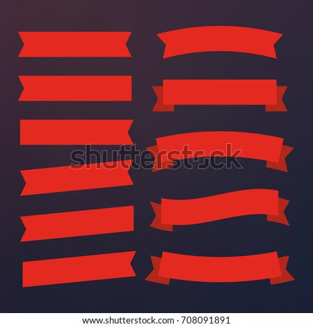Red glossy ribbon vector banners