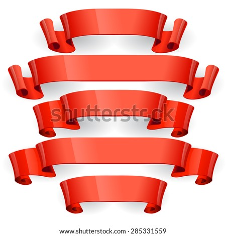 Red glossy ribbons on a black background. eps 10 - stock vector